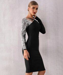 rochie, rochie midi, rochie neagra, rochie paiete, rochii, haine, haine dama, unique fashion,