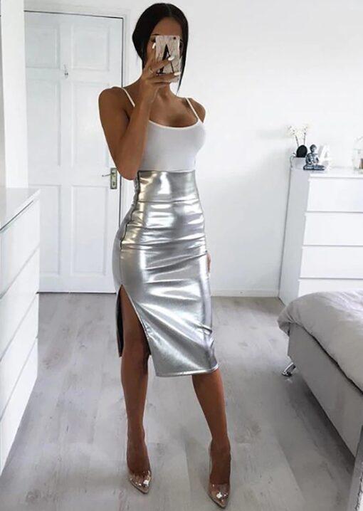 fusta, fusta midi, fusta argintie, fuste, haine, haine dama, unique fashion,
