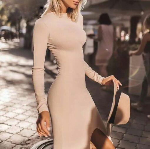 rochie, rochie midi, rochie nude, rochii, haine, haine dama, unique fashion,