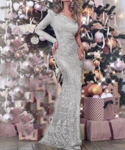 rochie, rochie lunga, rochie argintie, rochie paiete, rochie eleganta, rochii, haine, haine dama, unique fashion,