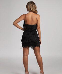 rochie, rochie scurta, rochie neagra, rochie franjuri, rochii, haine, haine dama, unique fashion,