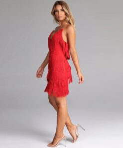 rochierochie, rochie scurta, rochie rosie, rochie franjuri, rochii, haine, haine dama, unique fashion,
